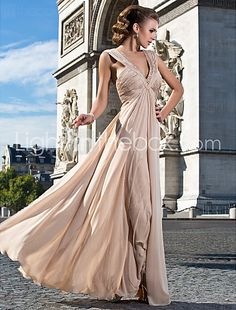Sheath/Column V-neck Floor-length Chiffon Evening Dress With Beading And Ruching - USD $ 195.99