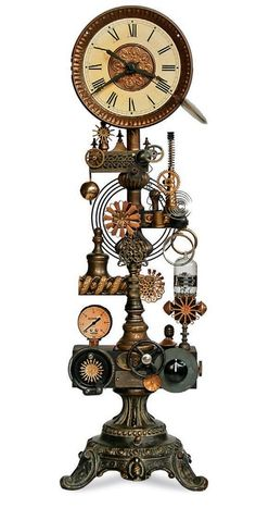 What time is it? Chat Steampunk, Style Steampunk, Steampunk Gadgets, Steampunk Crafts, Steampunk Clock, Steampunk House, Steampunk Cosplay, Steampunk Design, Steampunk Fashion