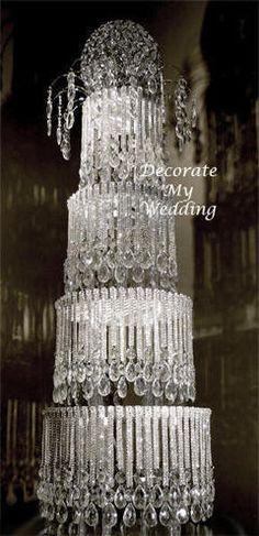 DIY Crystal Cake Stand Wedding   Crystal Cake Centerpiece Sasha 4 Tier