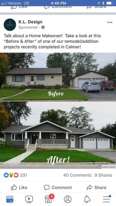 Exterior ranch remodel before after fixer upper 29 Ideas Home Exterior Makeover, Exterior Remodel, Garage Exterior, Diy Exterior, Exterior Design, Ranch Exterior, Exterior Paint, Garage House, House Front