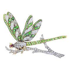 Art Nouveau Demantoid Garnet Diamond Ruby Platinum 18k Yellow Gold Dragonfly Brooch