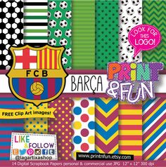 Barça Barcelona Team Soccer Futball Digital Paper by Printnfun, €3.00
