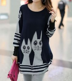 Cheap Sweet Style Scoop Neck Striped Cat Print Long Sleeve Loose Fit T-Shirt For Women (DEEP BLUE,ONE SIZE), Women's T-shirts - Rosewholesale.com