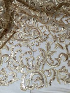 """CHAMPAGNE CORDED EMBROIDERY SEQUINS MESH LACE FABRIC 50"""" WiIDE 1 YARD…"""