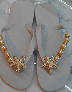 Starfish and Crystal Flip Flop By Flipinista by FlipinistaYourBFF,