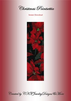 Christmas Poinsettia Beaded Peyote Cuff by CKFJewelryDesigns