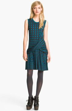 An eye-catching (maybe a little eye-crossing) print in teal. (Thakoon Addition Plaid Ponte Knit Dress available at #Nordstrom)