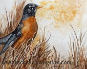 Watercolor painting of robin 5 x7 PRINT bird watercolor art bird artwork Painting of bird orange brown black family room decor small