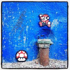 Mario - Perler bead street art by paddywaxdesign