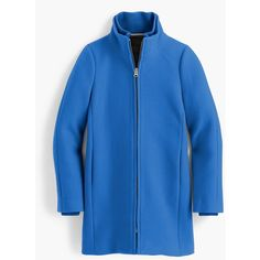 J.Crew Lodge Coat (26.980 RUB) ❤ liked on Polyvore featuring outerwear, coats, quilted coat, blue coat, blue quilted coat, j crew coats and leather-sleeve coats