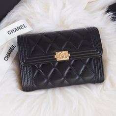 Chanel Boy Chanel Small Wallet Style code: Size: x x inches Chanel Wallet Small, Small Wallet, Designer Wallets, Chanel Boy, Shoulder Bag, Handbags, Flat, Purses, Sunglasses