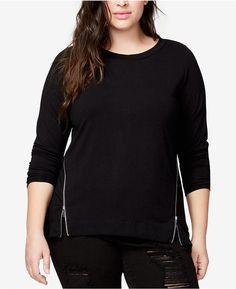 090cdfbf51c7c Rachel Rachel Roy Curvy Plus Size Side-Zipper Blou… Black Blouse