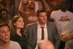 "Brennan (Emily Deschanel) and Bones (David Boreanaz) from ""The Hot Dog in the Competition"" episode of BONES on FOX."