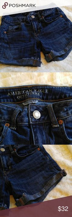 AEO MIDI Roll Up Cuffed Denim Wear these anywhere since they are a little longer than most short shorts. Dark Denim with no distress.    Why buy from me? 💋Most Items New with tags or worn once 💋Smoke free home  💋TOP 10% Seller  💋TOP RATED 💋 FAST SHIPPER   💋ACCEPT MOST OFFERS 💋BUNDLE DISCOUNT OF 20% 💋Allow EXCHANGES 💋Speedy response for questions  ❤Let me know how I can help & HAPPY POSHING!!! 💕💋 American Eagle Outfitters Shorts Jean Shorts