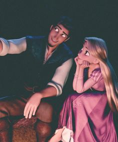 Rapunzel and Flynn/Eugene... best Disney couple ever. Just look how he is looking at him.