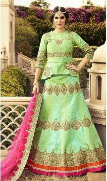 Mint Green Color Art Silk A Line Style Wedding Lehenga Choli | FH463972358