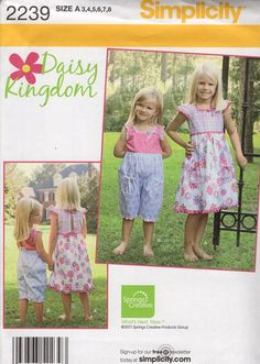 FREE US SHIP Sewing Pattern Simplicity 2239 Uncut New Girls Daisy Kingdom Out of Print Jumpsuit Romper Dress Size 3 4 5 6 7 8 Uncut New by LanetzLiving on Etsy