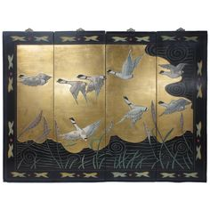 Chinese Lacquer Four-Panel Screen with Water Fowl | From a unique collection of antique and modern paintings and screens at https://www.1stdibs.com/furniture/asian-art-furniture/paintings-screens/