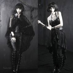 Punk-Rave-Gothic-Umhang-Cape-Rock-Skirt-Spitze-Victorian-Lace-Steampunk-PQ-167