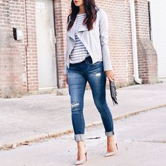 Currently on SMT..fringe, faux leather, & distressed jeans #typical  http://liketk.it/2oq19 @liketoknow.it #liketkit