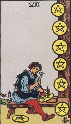 Tarot: Card by Card - Eight of Pentacles | Theresa Reed, The Tarot Lady | #Tarot #tarottip
