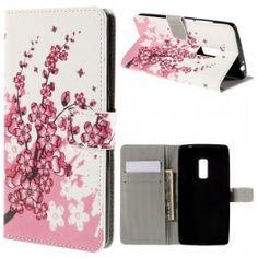 One Plus 2 vaaleanpunaiset kukat puhelinlompakko