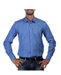 Man shirt, standard neck - 100% cotton - long sleeves - wash 30°c - Shirt men Blue