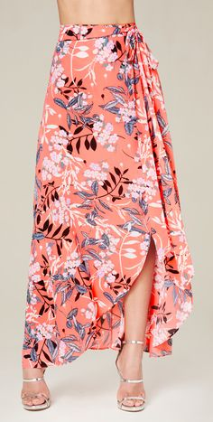 Print Wrap Maxi Skirt