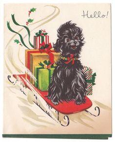 Vintage Greeting Card Christmas Black Dog Sled Ride