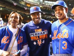 Curtis Granderson and parents//NYM win the NL pennant, Oct 21,2015
