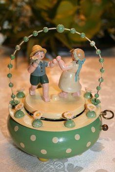 "ERZGEBIRGE Wendt Kuhn East German Music Box ""Spring Dance"" Germany Christmas In Germany, 1st Christmas, Wooden Figurines, Wooden Ornaments, German Christmas Decorations, Cookie Factory, Wendt Kühn, Wooden People, Homemade Cookies"