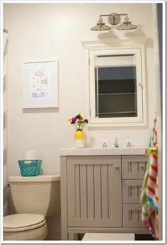 Bright colorful kids bathroom