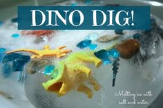 Dino Dig: Melting ice with salt and water. Science, water play, and fine motor development all wrapped up in a fun, icy activity! : Keep your hooligans happy with an engaging dino dig! This activity is great for keeping cool on a hot morning. Water Experiments For Kids, Dinosaur Activities, Science Activities For Kids, Sensory Activities, Sensory Play, Preschool Activities, Space Activities, Science Ideas, Sensory Bins