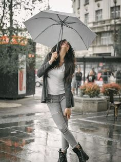 Happy smiling woman under umbrella in rain by guruxox on Rainy Day Photography, Umbrella Photography, Girl Photography Poses, Film Photography, Walking In The Rain, Singing In The Rain, I Love Rain, Girl In Rain, Rain Days
