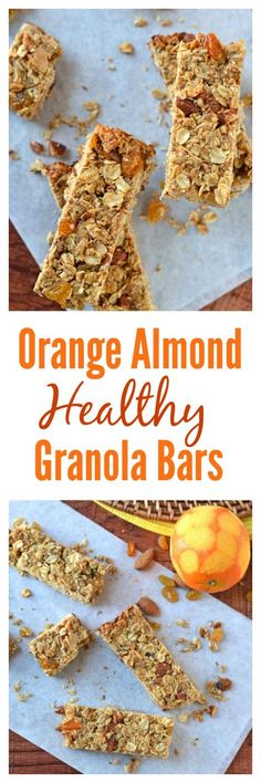 Orange Almond Healthy Granola Bars. Healthy granola bars studded with coconut, golden raisins and roasted almonds that are a trip to the tropics for your taste buds!