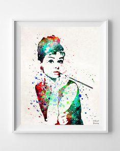 Audrey Hepburn Print, Art Print, Watercolor Art, Type 2, Gift Idea, Poster, Audrey Art, Illustration, Watercolour, Wall Art Prints