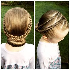 Kids lace braid hairstyle with chignon bun :)