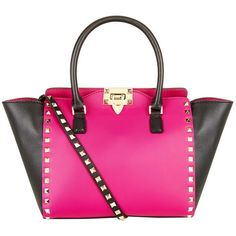 Valentino Small Rockstud Contrast Shopper (3 930 BGN) ❤ liked on Polyvore featuring bags, handbags, tote bags, purses, zip tote bag, valentino tote, shopper handbags, pink handbags and valentino handbags