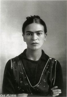 Frida Kahlo, October 16, 1932  Reviewing lecture notes, I believe (but may be in error)that this photograph of Frida was taken byher father, Guillermo Kahlo,after the death of her mother.