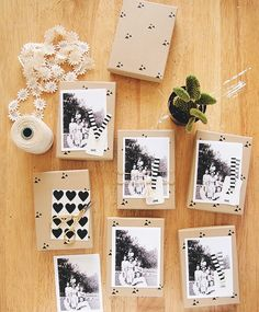 packages with black & white photos, cute.