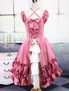Cute Cap Sleeves Satin Classic Lolita Dress - Milanoo.com