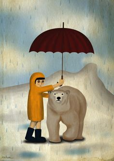 Global Warming Issues illustration by Korean Illustrator/typographer Kim Na Hum (김나훔) Korean Illustration, Illustration Styles, Global Warming Issues, Brollies, Coin, Polar Bear, Illustrator, Unique, Art