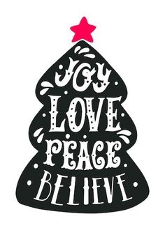 Printable Christmas Cards - Joy Love Peace Believe Tree Christmas Images Free, Free Printable Christmas Cards, Christmas Signs, Christmas Cookies, Cricut Creations, Amazon Gifts, Homemade Gifts, Peace And Love, Free Printables