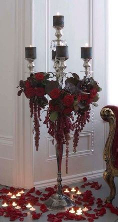 Jamie Aston candelabra with red roses, red Amaranthus, and black candles / Gothic Red Wedding, Wedding Flowers, Red Black Weddings, Vampire Wedding, Wedding Colors, Casa Halloween, Boho Dekor, Goth Home, Black Candles