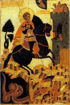 Чудо Георгия о змие. Средник житийной иконы собора Рождества Богородицы. Северное письмо. Устюжна. Вторая половина 16 века