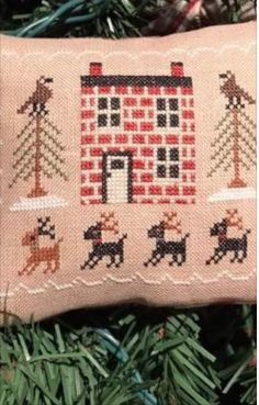 Scarlett House Freebie - From Our House to Yours Cross Stitch Christmas Ornaments, Burlap, Reusable Tote Bags, House, Hessian Fabric, Home, Homes, Jute, Houses