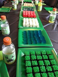 Jills build-your-own-landscape Minecraft cake (and Rice Krispie treats, and jello).   Flickr - Photo Sharing!