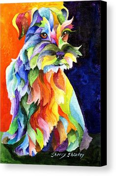 Schnauzer Too Dog Print by Artist Sherry Shipley Miniature Schnauzer Puppies, Schnauzer Puppy, Schnauzers, Goldendoodle Art, Yorkie, Arte Pop, Dog Quilts, Most Popular Dog Breeds, Mundo Animal