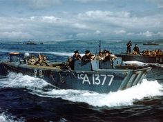 Early June 1944 - Off the coast of Weymouth, these British landing craft train for Operation Neptune. This is the assault phase of Operation Overlord. The Allies want to create a beachhead in Normandy, seize quickly the deep water ports such as Cherbourg (to ensure supply), then grab the west of France. After several delays, June 6 is D-Day landing. © Regional Council of Basse-Normandie / National Archives USA