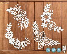 SVG Bundle!   4 Floral SVG / PDF Papercut Templates   cut file   scrapbooking   card making   papercut template   Cricut, Silhouette
